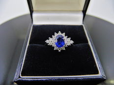 Platinum Sapphire and Diamond Cluster Ring - size 52