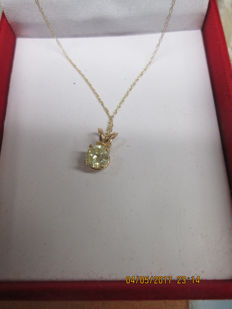 Yellow gold (14 kt) pendant with 0.64 ct diamond - 40 cm - ***No reserve***