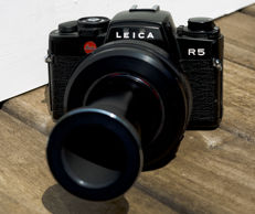 Leica R5 SLR camera with a special extension lens for R, M39 and M42