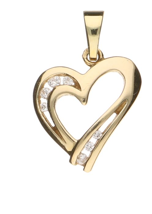14 kt yellow gold heart shaped pendant set with seven white zirconia 14 kt yellow gold heart shaped pendant set with seven white zirconia stones length aloadofball Images