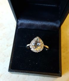 Noble aquamarine ring with white topaz in highly valuable rhodinated silver