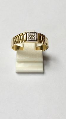 14 kt gold men's ring with diamond 0.04 ct, ring size 19 (60), no reserve price