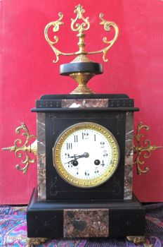 "French table clock, marble - Paris Japy Freres mechanism ""FJC""."