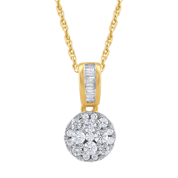 18 Kt. gold brand new cluster diamond pendant set with 0.25ct , GH colour and SI clarity with baguette diamonds on the bale with 18 inch gold chain, .