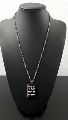 Silver anchor link necklace with pendant 835 k. Length: 62.2 cm, width: 0.2 cm, weight: 23.6 g