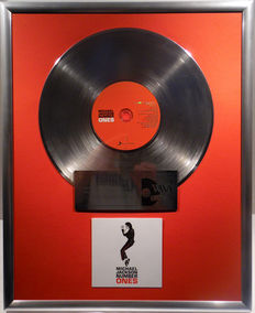 """Michael Jackson - Number Ones  - 12"""" german Sony Music platinum plated record with CD and cover by WWA gold Awards"""