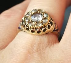 Antique Victorian Era Rose Cut Diamond  Gold Ring -Diamond-Blue-Enamel-Ring,total ct 0,70 aproxx.