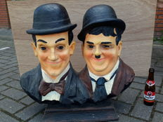 Laurel and Hardy - heavy hand-painted bust, 70