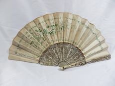 A mother-of-pearl and silk folding fan - hand painted silk leaf - Spain - circa 1900