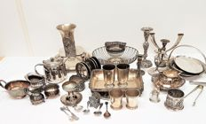 Lot of 50 silver plated objects ca. 8.5 kg