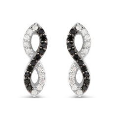 925 Silver Diamond Earrings  -  Black and White Diamonds. G/H; SI 2 0.38 carat. - No reserve