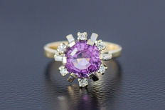 585 yellow and white gold ring with an amethyst - diamonds approx. 0.15 ct - ring size 56 ***No reserve***