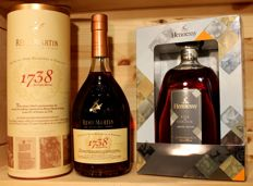 2 bottles of Top Cognac: 1. Rémy Martin 1738 Accord Royal, incl Box + 2 Hennessy Fine Cognac, Limited Edition, 2016, 2x70cl/700ml