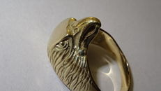 18 kt gold ring in the shape of an eagle's head - 22 mm