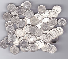 The Netherlands - 10 cent coins from various years up to 1944 Wilhelmina (100 pieces) - silver