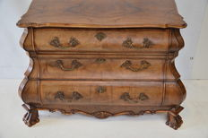 Baroque style mahogany double curved chest of drawers-Dutch-approx 1930
