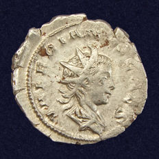 Roman Empire - Antoninianus Valerianus II, Jupiter sitting on goat Amalthea - Cologne, 257-258 AD