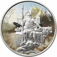 USA - 1 oz ODIN Norse God - The All Father - polished plate - colour edition - 999 silver - viking/valkyrie - with box and certificate