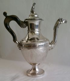 Italian silver coffee pot with wooden handle - Naples - first half of 19th century