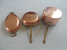 """lot of 3 copper pans, 2 marked """"tagus chef"""" with tinned interior"""