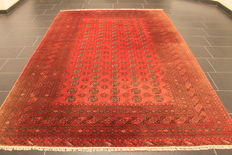 Beautiful old hand-knotted Art Deco oriental carpet, 200 x 300 cm, Afghan Mauri, made in Afghanistan