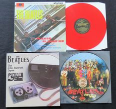 The Beatles - Great lot of 3 LP's: Sgt. Pepper's PICTURE DISC / Please Please Me (RED vinyl) / The John Barrett Tapes