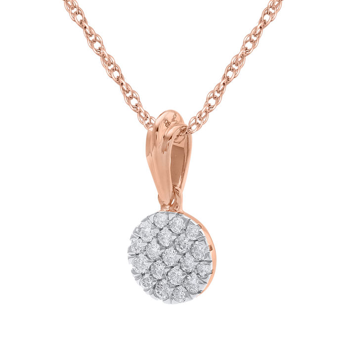 Brand new round diamond cluster pendant 0.25ct total weight set in 18kt pink gold with an 18 inch trace chain, GH colour and SI clarity.