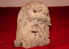 Head of manly man, mask in clay - second half of the 19th century