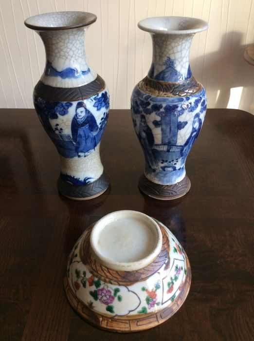 Antique Vases With Blue Decoration And A Famille Verte Bowl Nanking