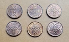 Portuguese Republic - Complete series of 20 Centavos - 1969 to 1974 - Set of 6 coins