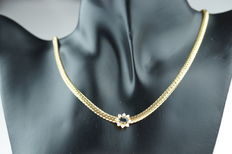 Yellow gold women's necklace with pendant with sapphire and zirconia, length 45 cm
