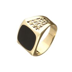 14 kt yellow gold cutaway ring with an onyx – ring size 18
