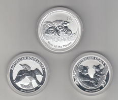 Australia – 1 Dollar 2008/2011 'Year of the Mouse', 'Kookkaburra' & 'Koala' (3 coins) – 3 x 1oz silver