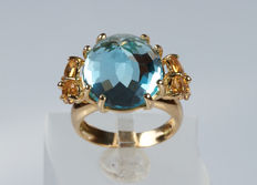 18 kt yellow gold ring with topaz quartz and citrines – size 12