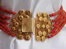 Nice 5 strand red coral necklace with Zeeland gold clasp, 100% antique red coral, approx 1880