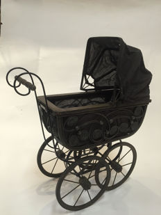Beautiful wood and metal doll stroller
