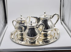 Designer silver tea set,  International hallmarked 900