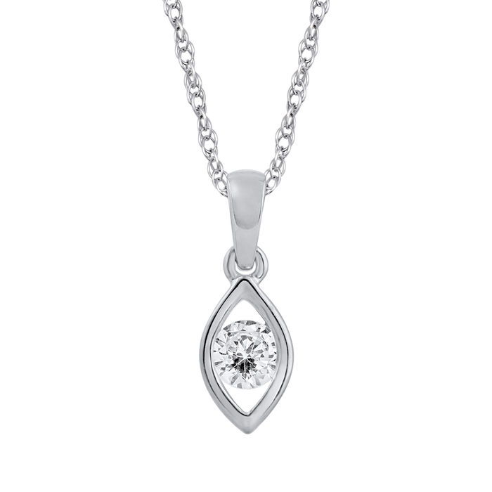 Brand new  18kt white gold round diamond solitaire pendant set with 0.20ct total weight , with an 18 inch trace chain, GH colour and SI clarity.
