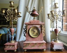 Table clock - Triptych for fireplace - Pink marble - Napoleon III.
