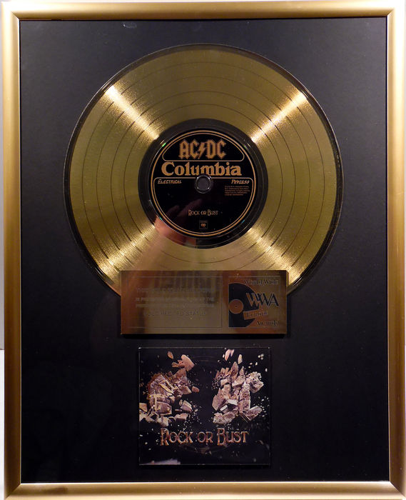 "AC/DC - Rock or Bust - 12"" german Columbia gold plated record with CD and cover by WWA gold Awards"