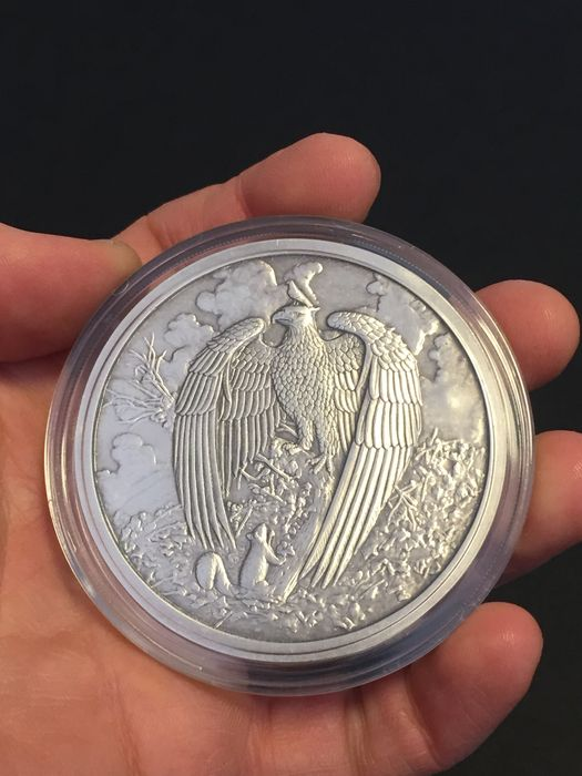 USA - Nordic Creatures - The Great Eagle 2017 - 5 oz of 999 silver - antique silver finish + proof - with certificate