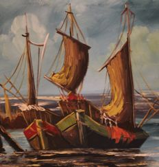 "Bruno Maten:  ""Sailing ships at the quay"", oil on canvas."