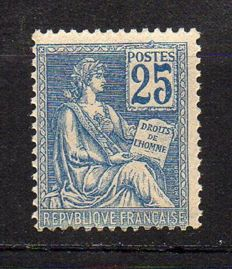 France 1902 – Mouchon Type I, 25c blue – Yvert no. 114