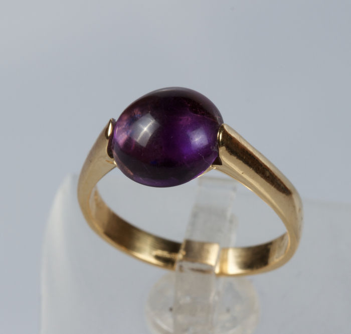 Ring in 18 kt yellow gold with amethyst – size 10, free resizing