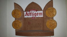 Affligem wooden wall sign with lighting