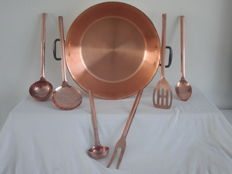 Large copper preserves pan - 45 cm -including red copper spoon set