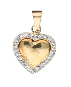 Yellow, 14 kt gold, heart-shaped pendant, set all around with 23 white, ornamental stones - length 1.4 cm.