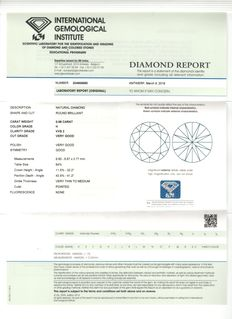 Diamond - round brilliant cut - 0.98 ct  - H/VVS2 – IGI certicate