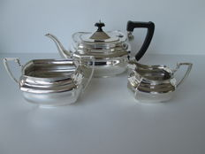 Three piece silver tea set, Charles Engelhard, London, 1929