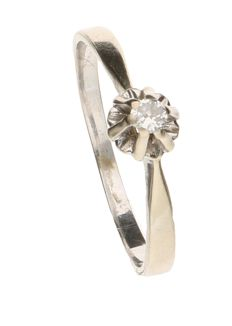 White gold solitaire ring in 18 kt, set with a 0.08 ct brilliant cut diamond - size 18